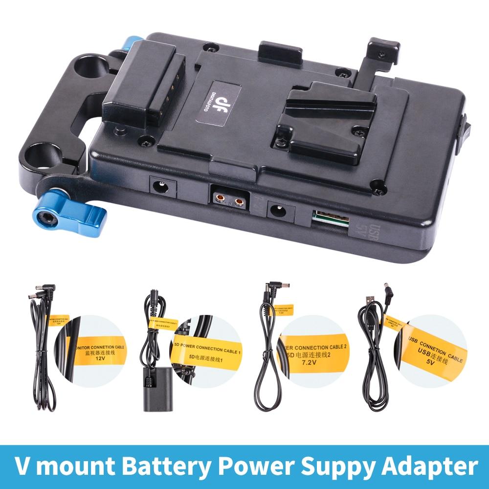 DSLR 5D2 Cámara V placa de montaje de bloqueo de sistema de fuente de alimentación con DC cable USB opción de toma para cámara batería DSLR carga