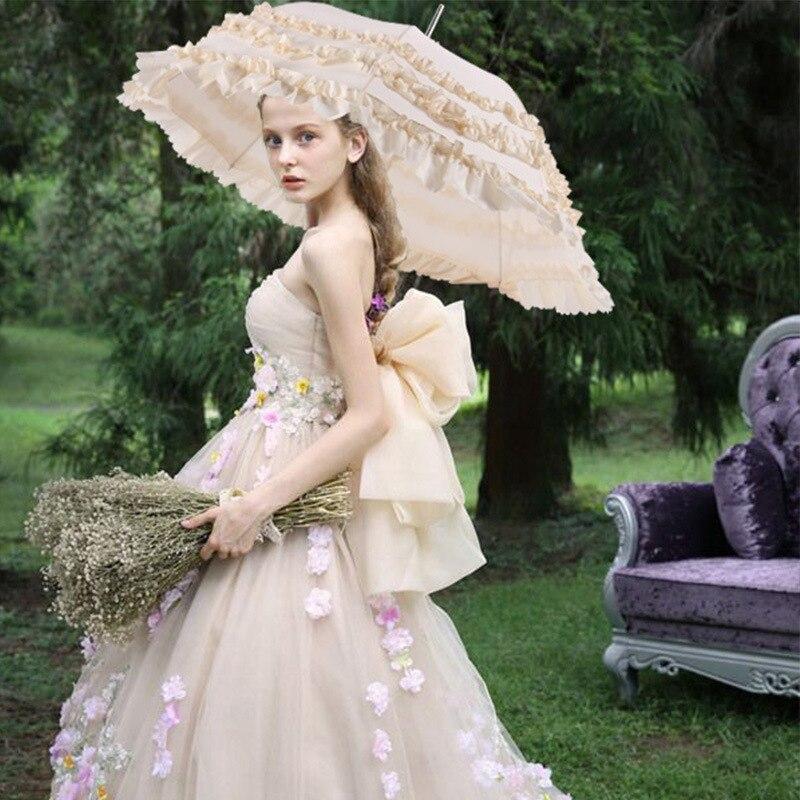 Casamento casamento celebração casar guarda-chuva dama de honra da noiva guarda-chuva cos rendas princesa laço guarda-chuva rosa sistema