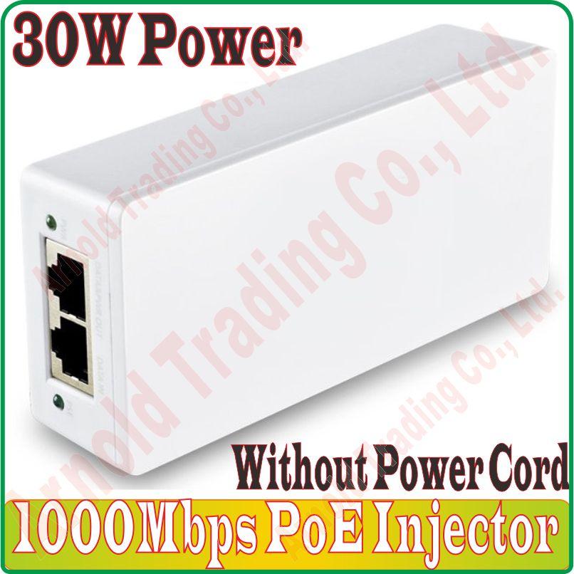 30 w 1 CH PoE Switch Gigabit PoE Injector com Adaptador & suporte de Saída DC48V IEEE802.3af IEEE802.3at Não Poder Builtin cabo de alimentação