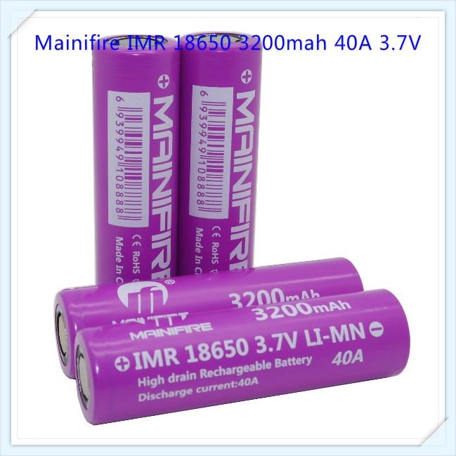 1pc  Mainifire 32000mah 40A   imr 18650 3.7v 3200mah rechargeable battery Batteries