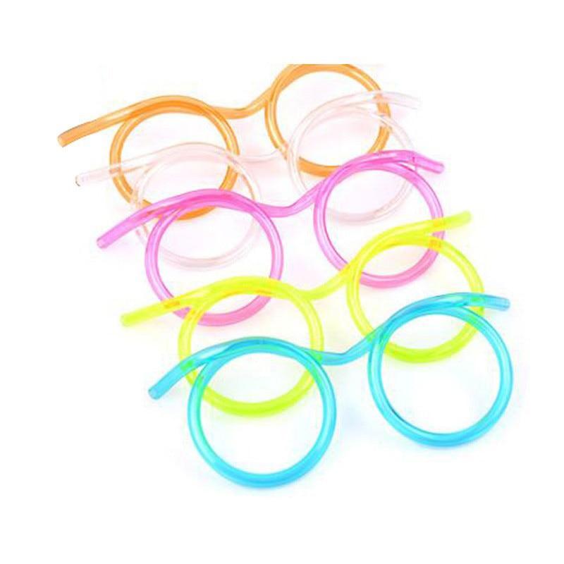 10 Uds. Divertidas gafas de ojos suave pajita para beber juguete novedoso regalo de Navidad fiesta de cumpleaños niño adulto DIY pajillas de juguete Bar suministros
