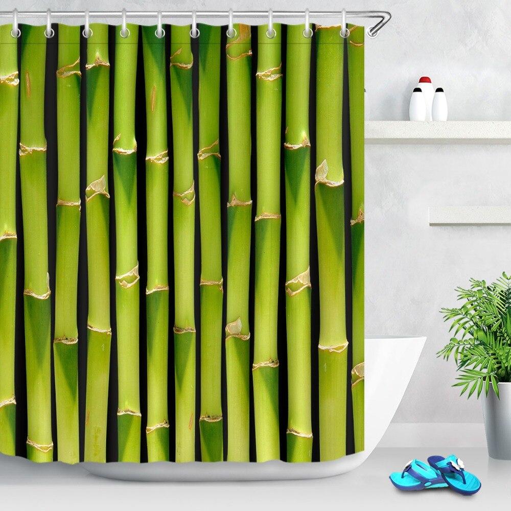 LB 180*180 cortinas de ducha de plantas naturales, tallos de puerta de bambú verde, tela de cortina de baño de poliéster impermeable para decoración de bañera