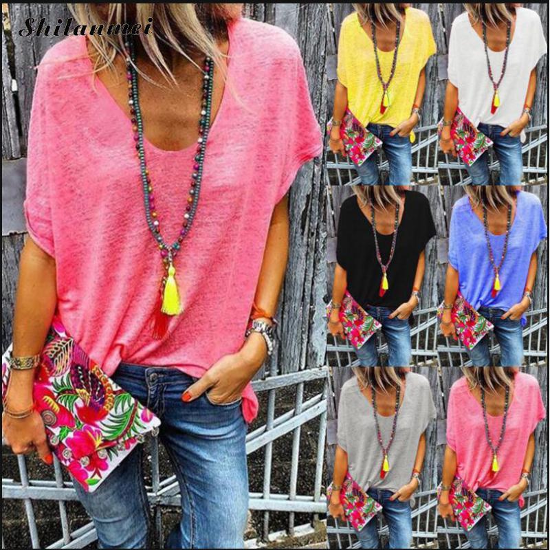 Camiseta de talla grande para mujer, camiseta de verano de manga corta con cuello de pico, camiseta informal holgada de Color sólido para mujer, Camisetas básicas, Tops para mujer 5XL 4XL 3XL