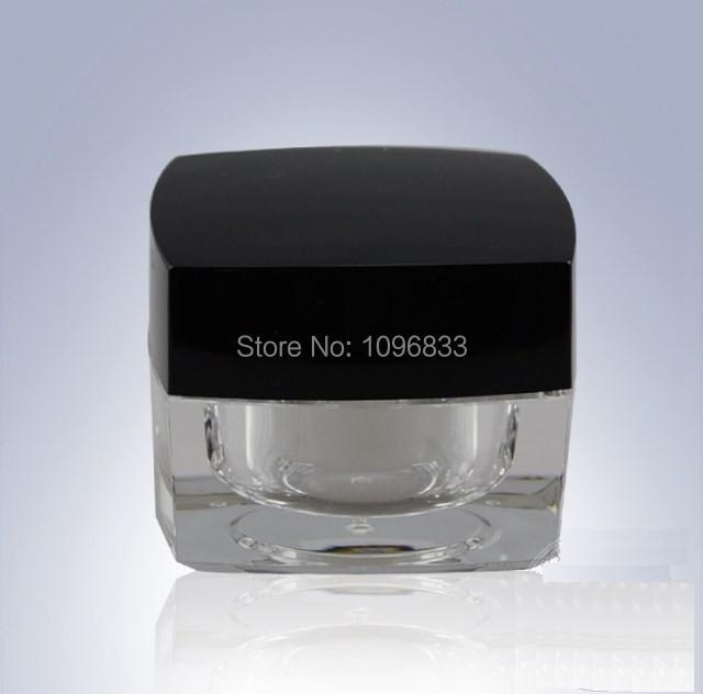 Tapa negra de tarro acrílico cuadrado de 50G, botella de jarrón de cristal, frascos cosméticos vacíos, envase de crema cosmética, 15 unids/lote