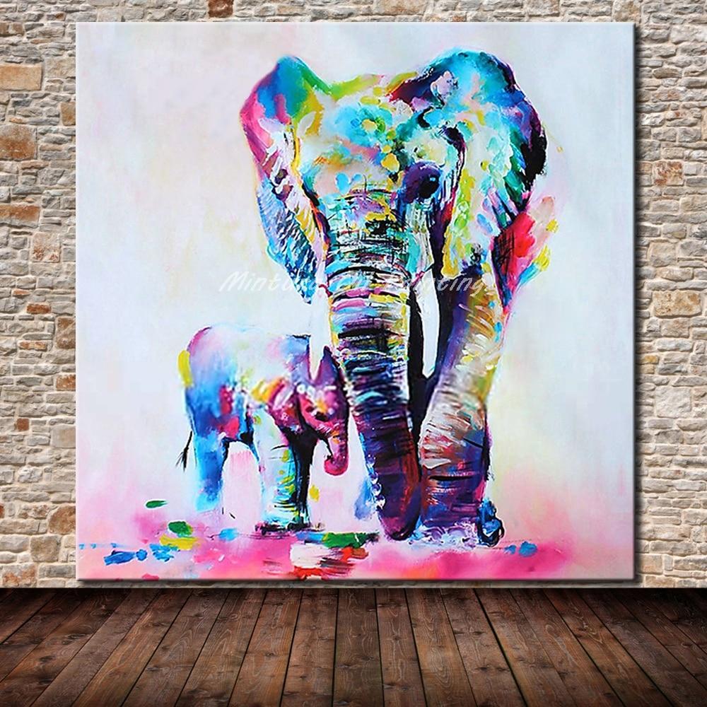 Cuadros Arthyx sin marco pintados a mano, elefante madre y bebé, pintura al óleo sobre lienzo de animales, decoración del hogar para la sala de estar