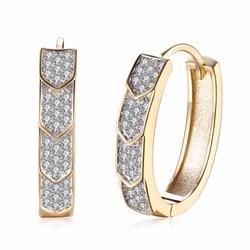 Champanhe Cor de Ouro Brinco Para a Mulher Moda Jóias Completa Limpar Cubic Zircon Cristal Casamento Hoop Rodada Brinco de argola