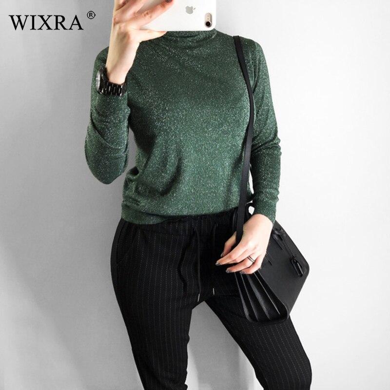Wixra, suéter de cuello alto delgado, elástico, para Primavera e invierno, Color sólido, ropa de mujer