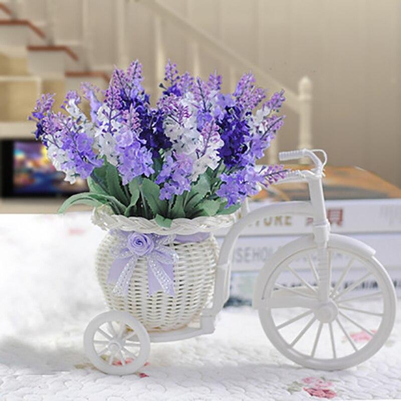 1 satz Lavendel Rose Hand-made Gewebte Kunststoff Fahrrad Blumentopf DIY Künstliche Blumen Korb Hochzeit Hause Dekoration Gefälschte Blume