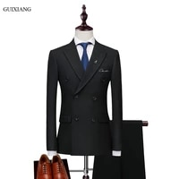 2018 new arrival style men boutique leisure suits business casual double breasted slim solid three piece suits blazer coat m 3xl