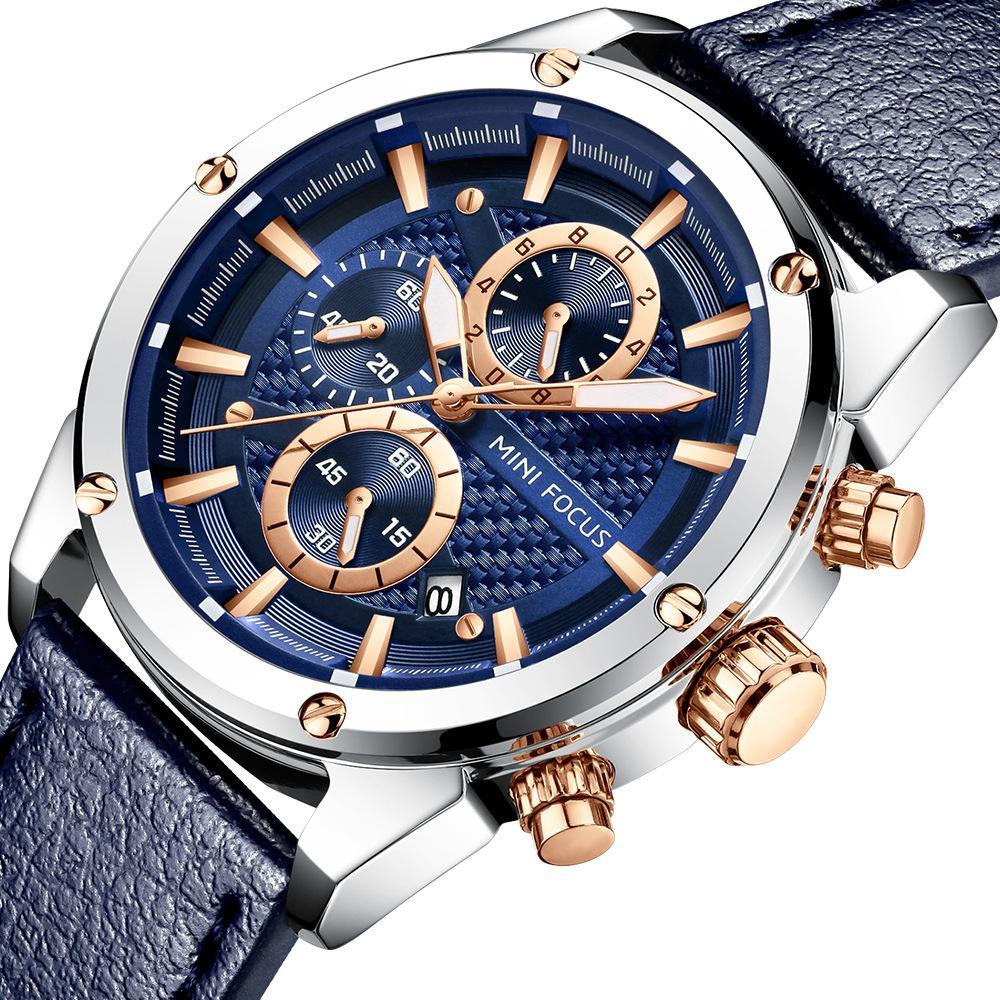 Quartz Pin Buckle Round Business Men's Watch Calendar Small Three-pin Luminous Fashion Alloy Leather Waterproof Men's Watch