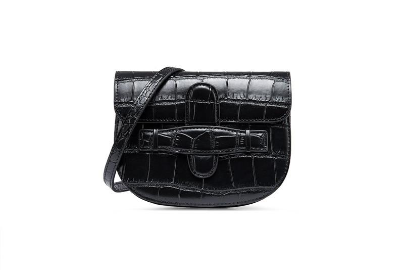 2019 fashion split leather mini crocodile pattern waist pack belt bag