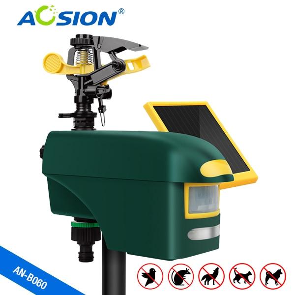 Бесплатная доставка, солнечный разбрызгиватель Aosion с датчиком движения, отпугиватель животных с мощной светодиодной вспышкой для отпугива...