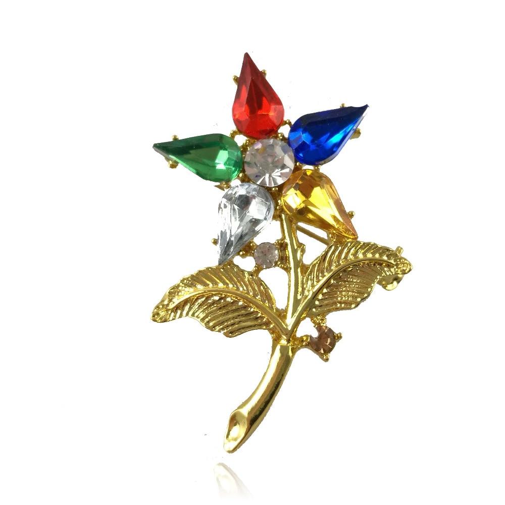 Новые ювелирные изделия OES заказ Восточной звезды брошь кристалл на заказ Цветок Булавка ювелирные изделия