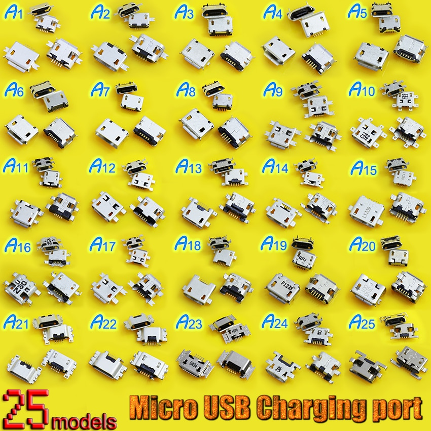 25Models charging port mini micro usb connector jack 7pin 5 pin socket b female V8 plug for HTC for ZTE for Motorola for Google