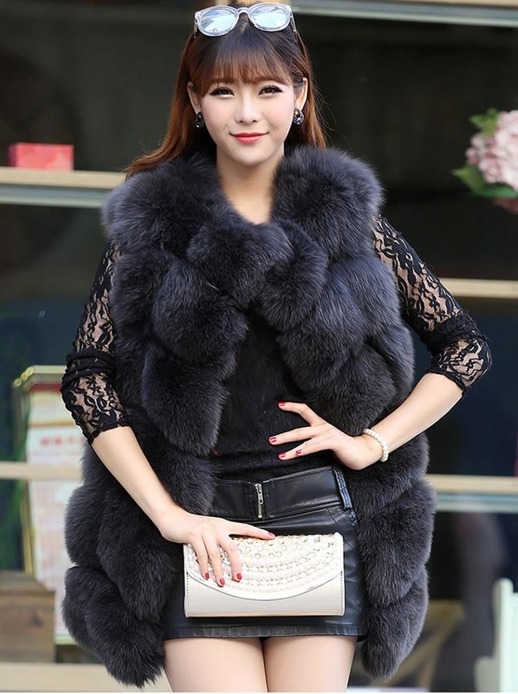 LIYAFUR Real Natural Genuine Fox Fur Vest Gilet Moda Slim Médio Longo Mex Pele Coletes Colete Poncho Feminino