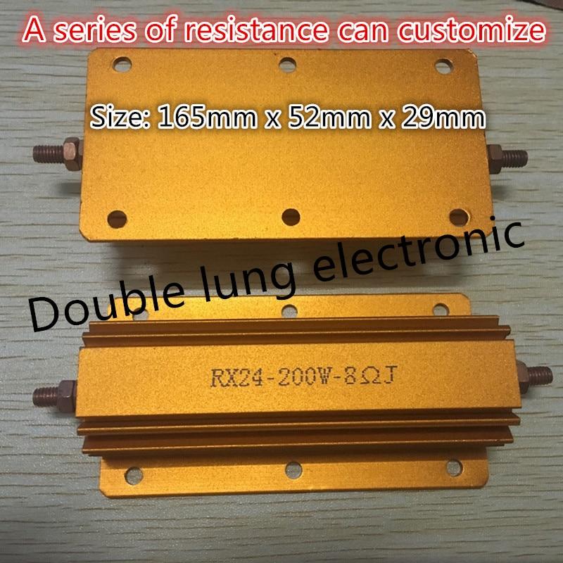 RX24-200W 1R 2R 4R 5R 6R 8R 10R 12R 20R 24R 30R 50R 68R 100R 200R 200 W de potencia de vatios carcasa metálica resistencia bobinada 8R Ohm 5%
