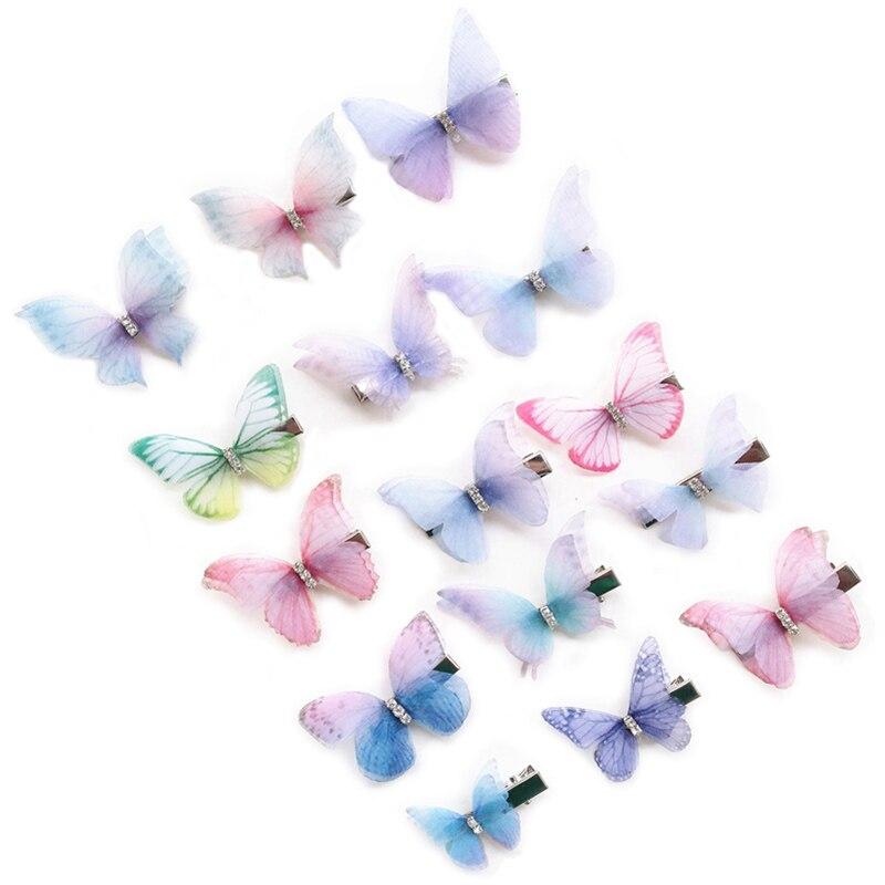 Clip de pelo de mariposa de tul con doble capa de diamantes de imitación de 80 Uds para mujeres niñas accesorios para el pelo de mariposa adornos de gasa