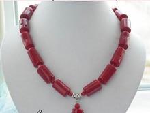 "huij 004719 18"" naturel red cylinder bead coral necklace pendant"
