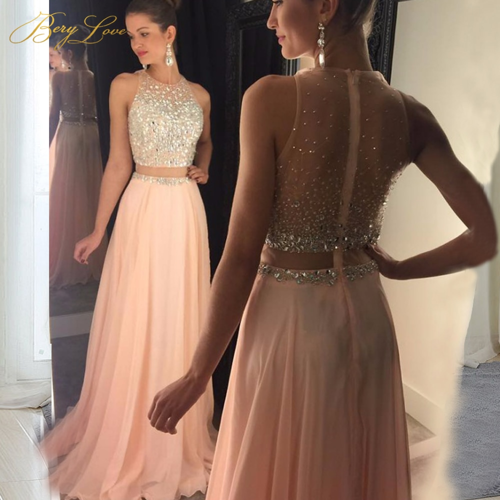 Blush rose robes de bal 2020 cristal perle haut Tulle élégant longue robe de bal Illusion taille balayage Train grande taille pas cher robe Sexy