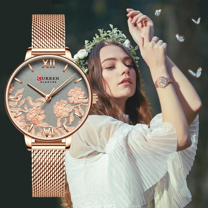 CURREN Elegant Womens Watch Grey Flower Slim Analog Rose Golden Mesh Steel Bracelet Watches Lady Dress Quartz Reloj Mujer Clock enlarge