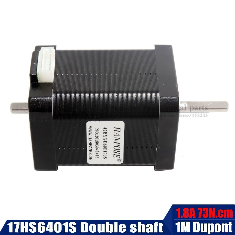 Double shaft 42 motor 4-lead NEMA 17 Stepper motor 1.8A 73N.cm 60MM length 17HS6401S motor for 3D printer and cnc