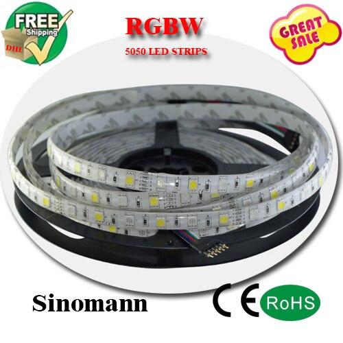 شريط إضاءة rgbw led للديكور المنزلي ، شريط إضاءة led مرن مقاوم للماء DC12V SMD 5050 5M/roll IP65 60Leds/M 300 LEDS/roll rgbw
