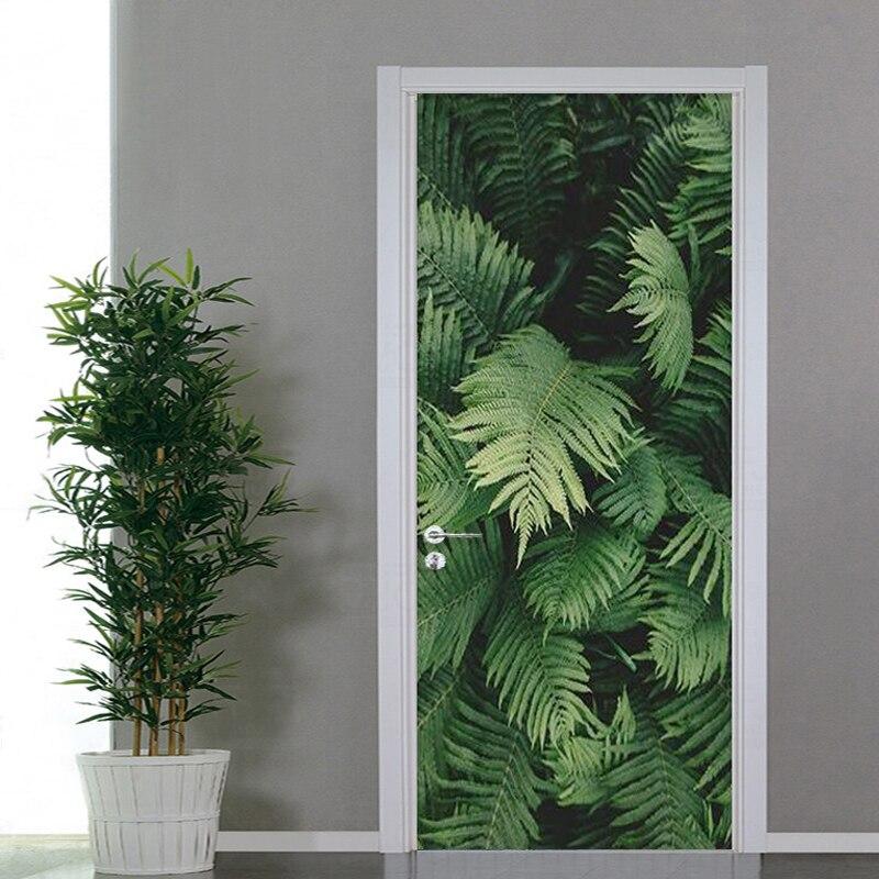 Pvc auto-adesivo porta adesivo 3d planta verde folhas papel de parede sala de estar quarto decoração para casa decalques da porta