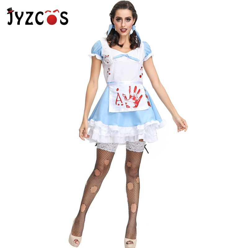 JYZCOS Adult Horror Maid Cosplay Costume Purim Halloween Costumes for Women Zombie Day