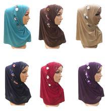 Nuevas mujeres musulmanas Hijab de flor de perforación caliente Amira Shawls islámico Wrap Head Cover Caps árabe pañuelo turbante Neck Cover Headwear