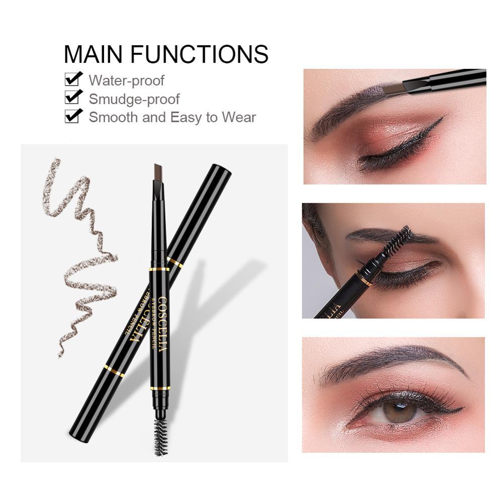 Lápiz de cejas de doble punta de 6 colores duradero para cejas impermeable antimanchas Rotatable cejas pluma maquillaje cosméticos