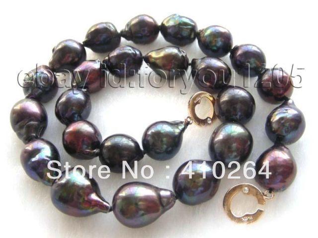 $ Wholesale_jewelry_wig $ liberan el envío Expreso Lustre Natural 20mm Negro Renacido Keshi Collar de Perlas de 14 k