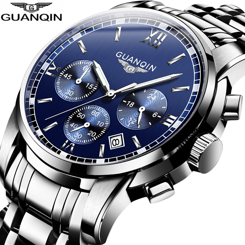 2017 new loreo chronograph waterproof auto date wrist watch top luxury brand stainless steel luminous diver male automatic clock Business Style Mens Watches Top Brand Luxury Chronograph Quartz Watch Men Stainless Steel Date Waterproof Sport Wrist Watch Man