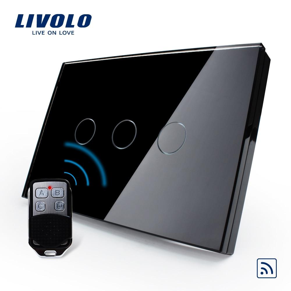 LIVOLO US/AU, interruptor de luz de pantalla táctil remoto de Panel de cristal perla negra con Mini control remoto, VL-C303R-82 y VL-RMT-02