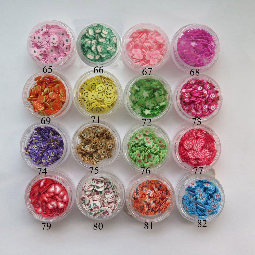 1Jar rebanadas de frutas en 3D, rebanadas de arcilla polimérica, uñas de lujo, decoración para uñas, arcilla polimérica, gato, flor, corazón, fresa, mariposa