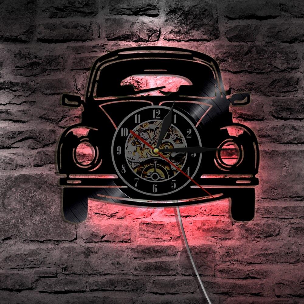 """1 stück 12 """"Auto Vintage Schallplatte Wanduhr Auto Design LED Licht Wand Lampe Moderne Design Wohnkultur wand Kunst Auto Liebhaber Geschenk"""