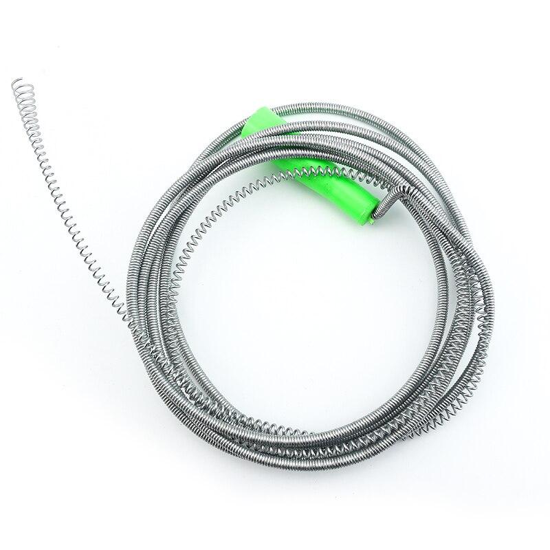 Limpiador de desagües con muelle, RESORTE DE COMPRESIÓN de serpiente de drenaje de cable, limpiador de tubo de desagüe de 5 metros de longitud