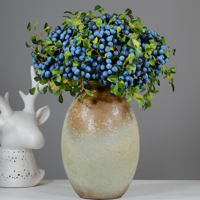 Flor de simulación, Decoración Retro europea para el hogar, flor de jardín, simulación de baya azul, fruta silvestre, arándano, frutas, plantas de imitación