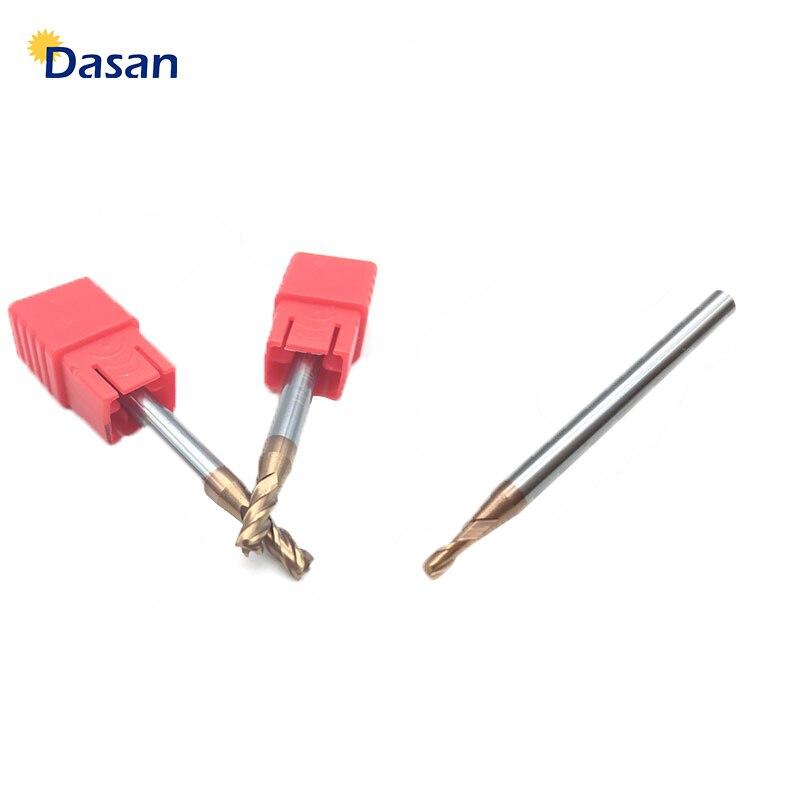 1 Uds Molino de extremo 1mm 1,5mm 2mm 2,5mm 3mm 4mm HRC60 4 hoja de flauta 2T espiral de carburo sólido fresa plana CNC cortador de torno libre