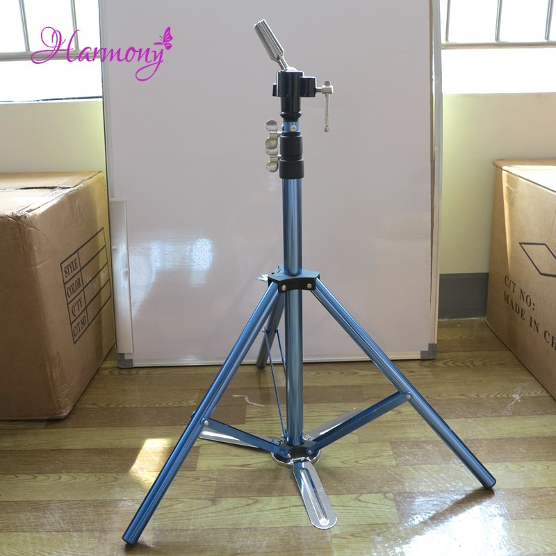 1pcs blue color hair salon adjustable aluminum tripod stand mannequin training head holder wig stand clamp 1pcs Blue Color Hair Salon Adjustable Aluminum Tripod Stand Mannequin Training Head Holder Wig Stand Clamp