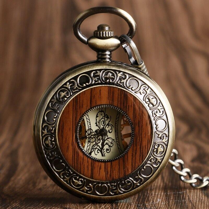Reloj de bolsillo mecánico de madera Vintage números romanos grabado original flor Dial relojes de madera colgante cadena mujeres hombres regalos