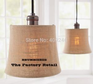 American Village Style Linen ART Round Copper Lamp Holder Pendant Lamp For Dining Room