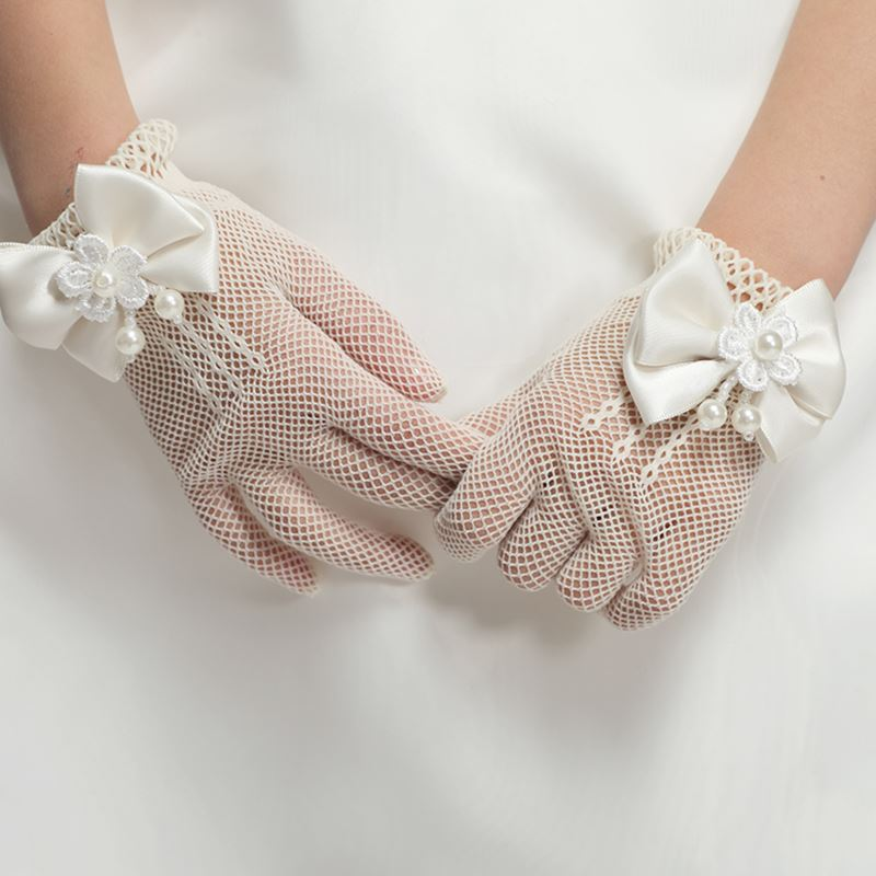 AliExpress - Fashion Princess Wedding Gloves for Girls Mesh Evening Children's Holiday Accessories with a Birthday Bow Performance Gloves for