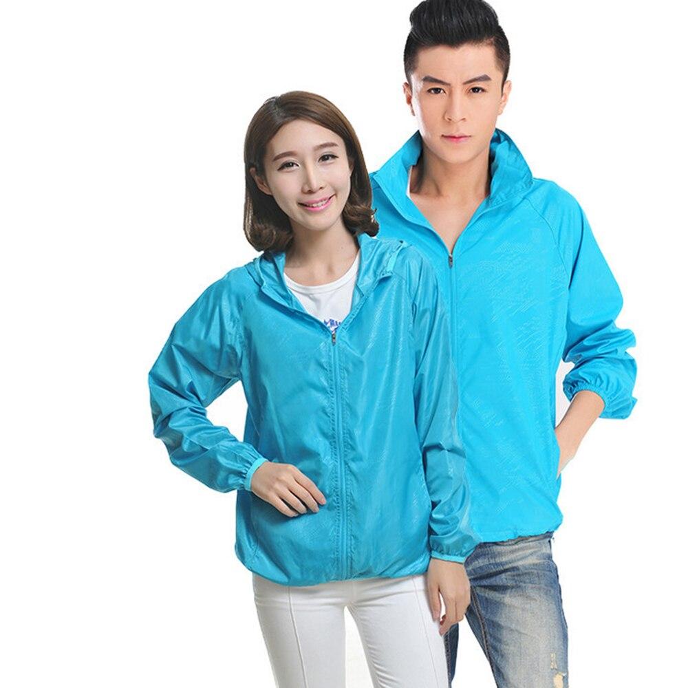 Mujeres Hombres ultraligero a prueba de lluvia chaqueta rompevientos transpirable impermeable abrigo pareja de secado rápido capa de protección solar