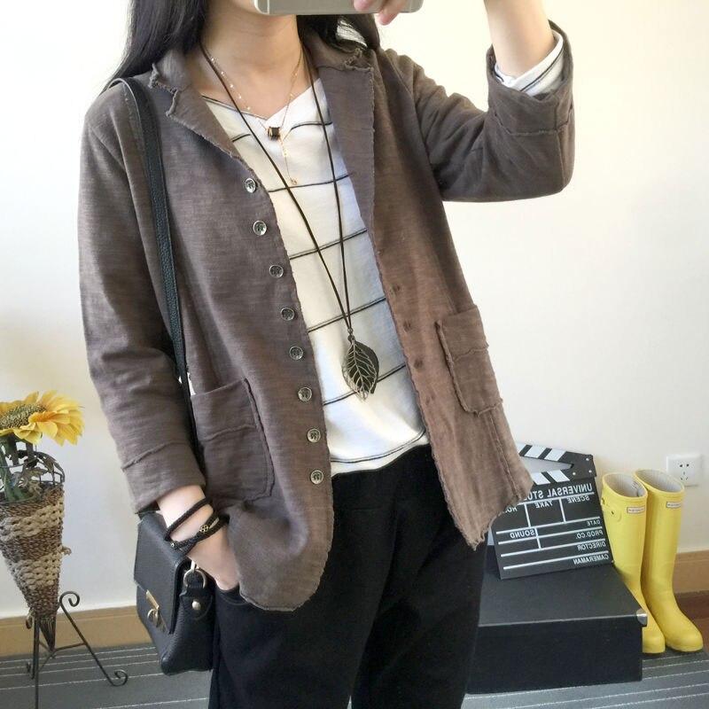 F & je جديد وصول ربيع الخريف النساء السترات واحدة الصدر فضفاض رداء غير رسمية القمم الصلبة القطن معطف زوج جيب جاكيتات D27