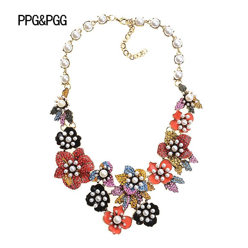 Ppg & pgg marca boho estilo multicolorido flores simulado pérola colares gargantilha de luxo maxi jóias de cristal