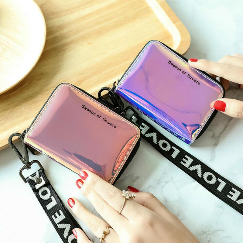 2019 Fashion Women Laser Mini Purse Wallet Holographic Wallet Short Faux Leather Women Zipper Coin Purses Organiser Wallets