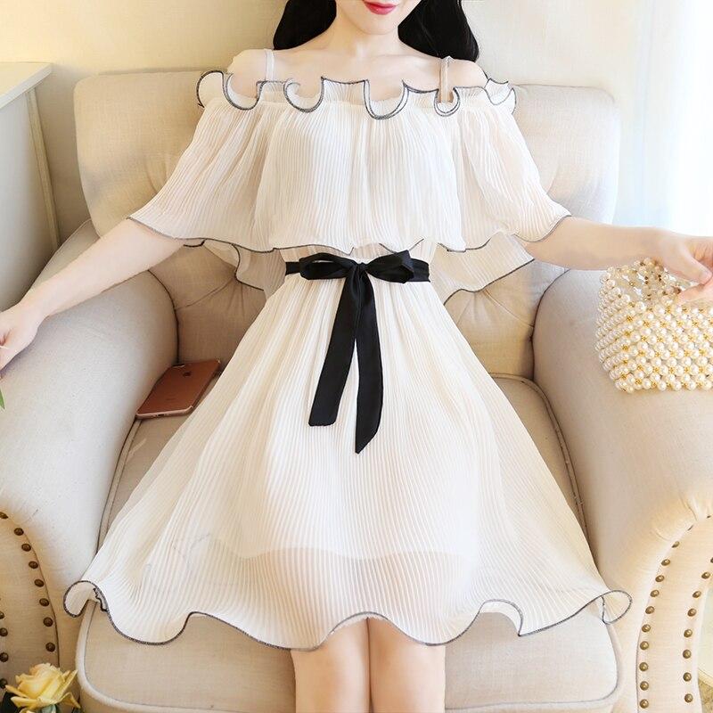 Summer Girl Japanese Sweet Princess Strap Sexy Off Shoulder Chiffon Pleated Dress Fairy Dress Womens Summer Tunics