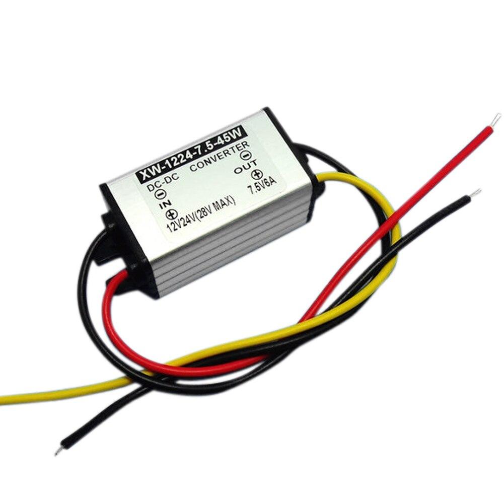 Convertidor de fuente de alimentación DC reductor 12V (10-28 V) a 7,5 V 6 a 45W Módulo adaptador de regulador de voltaje para Corder de coche/Audio/pantalla LED