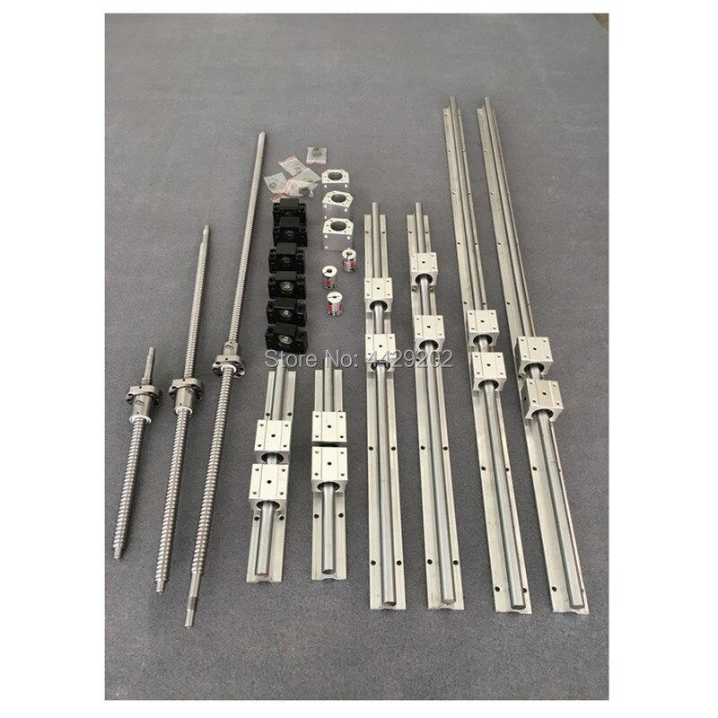 Carril guía lineal SBR16 6 set SBR16-300/1500/1500mm + tornillo de bola SFU1605-350/1550/1550mm + BK/BF12 + piezas de carcasa de tuerca cnc