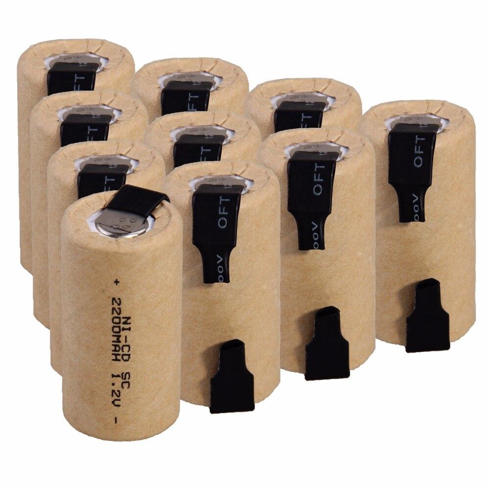 10 baterias nicd da bateria do sc 2200mah 1.2v dos pces para a bateria elétrica da ferramenta elétrica da broca da chave de fenda para a luz de emergência